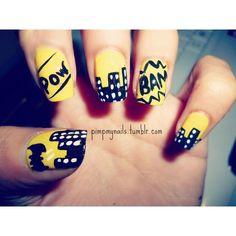 Batman nails Nail Art Gallery ❤ liked on Polyvore featuring nails, batman, makeup and nail art