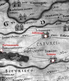 Tabula Peutingeriana: Gaule lyonnaise et Loire- 1) GENERALITES, b) SOURCES HISTORIQUES: aucune source ne mentionne ce monument qui ne peut être identifié par ailleurs avec aucun des édifices attestés à Poitiers. Le nom même de l'abbé Mellebaude qui fit aménager la tombe, d'après les inscriptions retrouvées, est inconnu.