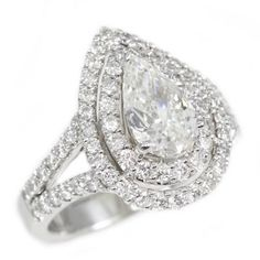 18K White Gold 1.08Ct Pear Cut Diamond Engagement Ring Call for Price