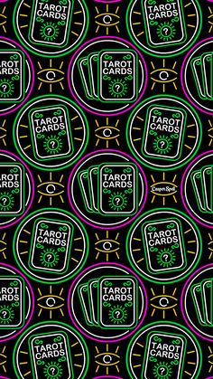 """""""Neon Tarot Cards"""" pattern for you! Feel free to save as your phone lock screen. *For Personal Use Only (Tip: For phone background instead of lock screen, edit & darken the design with your photo editor and your icons will be easy to see. Witchy Wallpaper, Halloween Wallpaper Iphone, Halloween Backgrounds, Trendy Wallpaper, Cute Wallpapers, Wallpaper Backgrounds, Wallpaper Desktop, Phone Wallpapers, Icon Design"""