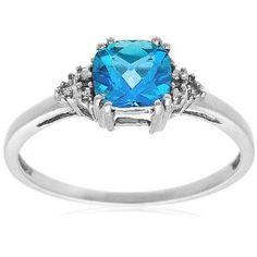 10k White Gold, December Birthstone, Blue Topaz and Diamond Ring $123