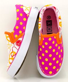 Orange & Pink Doodle Slip-On Sneaker  XOLO Shoes