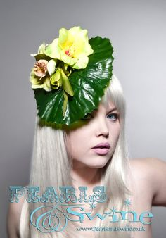 Leaf Flower Fascinator Hat Headpiece Millinery High Fashion Quirky Unique Jungle Ladies Day Avant Garde Couture Royal Ascot Pearls & Swine. £60.00, via Etsy.