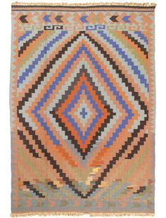 "Item 43578 : Hand Woven Nomadic Southwest Rectangular Wool Kilim 6'7"" X 9'6"" (1) : eCarpetGallery"