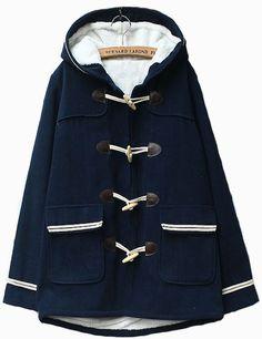 Navy Blue Pocket Contrast Trim Hooded Duffle Coat 34.16