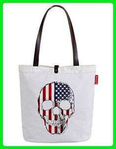 So'each Women's Us Flag Skull Graphic Handbag Tote Shopper Carrier Shopping Bag - Top handle bags (*Amazon Partner-Link)