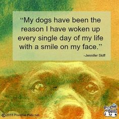 "Pooch Inspiration | Dog Quotes : ""My dogs have been the reason I have woken up every single day of my life with a smile on my face."" –Jennifer Skiff http://poochie-pets.net/pooch-inspiration-dog-quotes-56/"