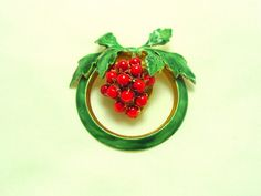 Vintage Sandor Strawberry Brooch with Red Beads by SomeLittleStars, $24.00