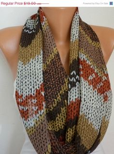 ON SALE Infinity Scarf Shawl Circle Scarf  Loop  Scarf Gift -fatwoman -Knit Print