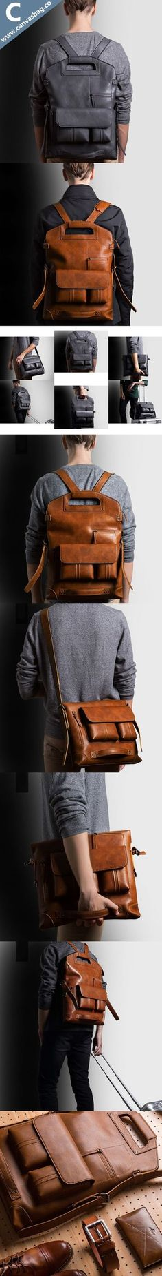 Leather Convertible Backpack - Canvas Bag Leather Bag CanvasBag.Co