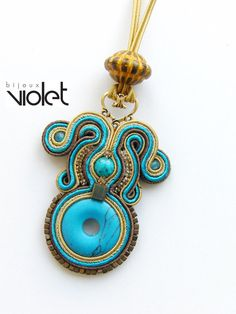 Soutache Pendant Brown/Turquoise by Violetbijoux Soutache Pendant, Soutache Necklace, Diy Necklace, Fabric Jewelry, Beaded Jewelry, Shibori, Handmade Necklaces, Handmade Jewelry, Soutache Tutorial