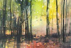 Paul Fowler Landscape Artwork, Watercolor Landscape, Forest Pictures, Summer Painting, Art Station, Tree Forest, Watercolor Sketch, Tree Art, Watercolours