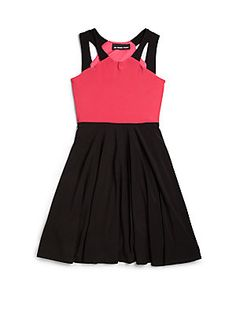 Un Deux Trois Girl's Cutout Colorblock Dress