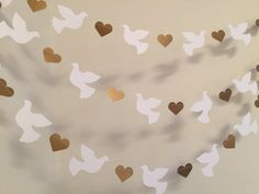 Christening Garland - Gold & White Dove Baptism decorations - Wedding Garland - Religious Baby Dedication Decor - Your Color choice from anyoccasionbanners Decoration Communion, Baptism Party Decorations, Heart Decorations, Valentines Day Decorations, First Communion Party, First Holy Communion, Wedding Doves, Wedding Card, Candy Bar Wedding