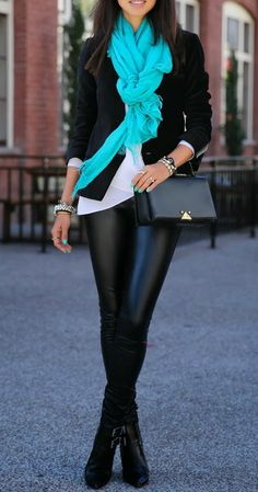 LOVE the teal scarf, leather leggings, matching nail polish!! Adore