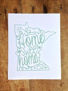 Home Sweet Home Minnesota print in aqua blue via Etsy
