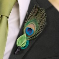 Peacock Flair Boutonniere