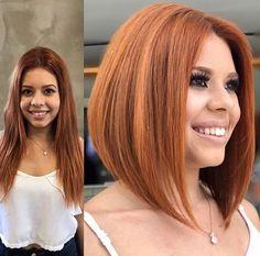 Angled Bob Hairstyles, Short Haircut Styles, Short Hairstyles For Thick Hair, Hairstyles Haircuts, Short Hair Cuts, Long Hair Styles, Pretty Hairstyles, Frauen Mittleren Alters, Red Bob Hair