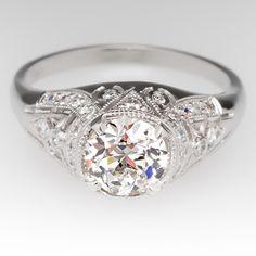 1 Carat Old European Cut Diamond Vintage Filigree Platinum Ring