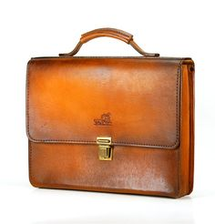 High Quality Leather briefcase. Brown tinned by FeltSilkArtGift