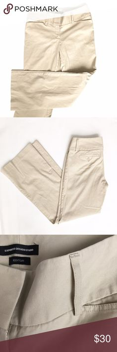 """Express Editor Khaki Trouser, Sz 6 Waist 16.5"""", rise 9"""", inseam 32"""". Thick material is 97% cotton with 3% spandex for stretch. Like new condition. Express Pants"""