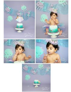 mermaid cake smash // under the sea cake smash // Blue Bird Photography Clarkston MI