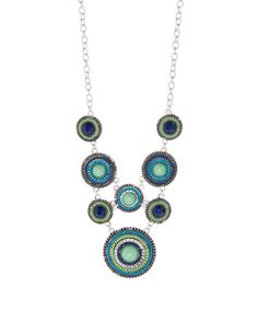 Another great find on #zulily! Blue & Green Beaded Medallion Bib Necklace by ZAD #zulilyfinds