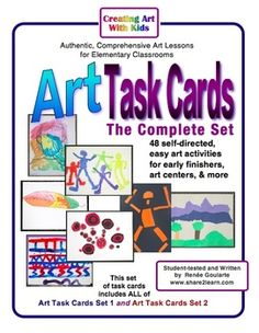 Art Task Cards - The Complete Set -- 48 self-directed, easy art lessons for early finishers, independent learners, art centers, and more!  Includes BOTH Set 1 and Set 2.
