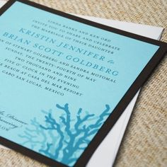 Coral Beach Wedding Invitation- Whimsical coral swim in a sea of shimmery Tiffany blue - ideal for a seaside wedding ceremony. Chocolate accents and ivory linen add delightful contrast to this elegant beach-themed invitation. Destination Wedding Invitations, Modern Wedding Invitations, Wedding Invitation Templates, Wedding Planner, Nautical Wedding Theme, Palm Beach Wedding, Dream Wedding, Cancun Wedding, Fantasy Wedding