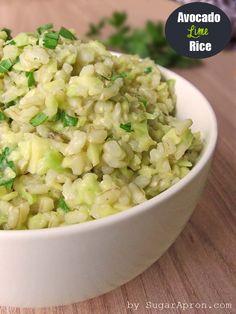 Avocado Cilantro Lime Rice | www.sugarapron.com | #Avocado #Lime #Rice - tasty, delicious and easy #sidedish