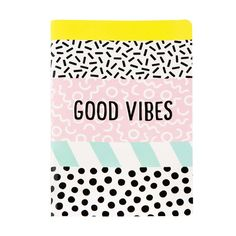 Memphis Modern Good Vibes Notebook available to buy direct from Sass & Belle. Charming gifts and homeware, designed with love. Mister Wonderful, Cahier A5, Slime Galaxy, A5 Notebook, Notebook Ideas, Sass & Belle, Birthday Calendar, Memphis Design, Perfect Gift For Her