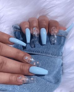 Acrylic Nails Stiletto, Clear Acrylic Nails, Acrylic Nails Coffin Short, Summer Acrylic Nails, Gel Nails, Summer Nails, Pastel Nails, Spring Nails, Blue Coffin Nails
