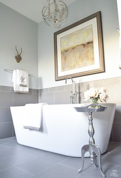 A Transitional Master Bathroom Tour free standing tub transitional neutral bathroom benjamin moore silver Master Bath Remodel, Diy Bathroom Remodel, Bathroom Renos, Bathroom Renovations, Bathroom Ideas, Washroom, Rustic Master Bathroom, Silver Bathroom, Small Bathroom
