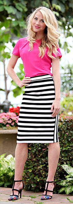 Black/White Striped Skirt [MSS8203] - $49.99 : Mikarose Boutique, Reinventing Modesty