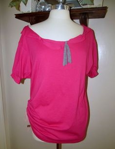 WobiSobi: Project Re-Style #29 Pink T-shirt into off shoulder Tee
