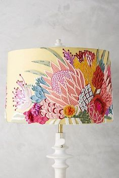 Majorcan Garden Lamp Shade, presented by Anthropologie. cotton and wool shade with crewelwork embroidery, iron frame. Garden Lamps, Crewel Embroidery, Embroidery Thread, Embroidery Alphabet, Embroidery Patterns, Garden Embroidery, Embroidery Patches, Machine Embroidery, Diy Home Decor