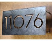 House number, numerals, laser cut, metal, black