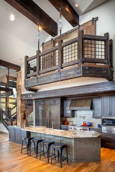 53 Sensationally Rustic Kitchens In Mountain Homes Rustic Fun Loft Idea Part 94