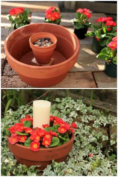 A simple (but beautiful!) outdoor candle planter made with two terracotta pots, some pebbles, annual flowers, and a pillar candle.