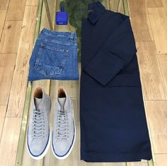 Outfit table in store featuring the Ando Mac Memtec Navy and the Narrow Pacific from our SS16 collection. Featuring the Number 288 Mulberry Savana and Histoires de Parfums.