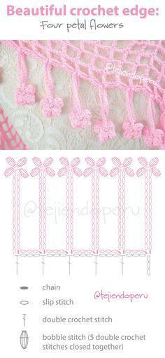 Beautiful crochet edge with diagram: 4 petal flowers!