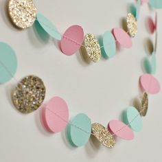 Paper Garland, Mint Pink and Gold, Birthday Party Decor, Wedding Shower Decor, Nursery Decor by DesignElementsByErin on Etsy https://www.etsy.com/listing/229191864/paper-garland-mint-pink-and-gold