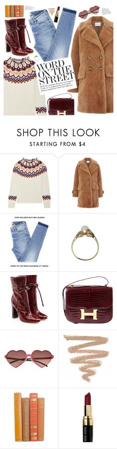 """""""word on the street"""" by valentino-lover ❤ liked on Polyvore featuring Loewe, Warehouse, Malone Souliers, Hermès, Wildfox and Bobbi Brown Cosmetics"""
