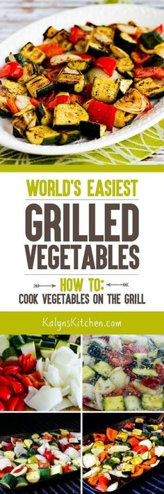 You'll love this easy easy recipe for the World's Easiest Grilled Vegetables (plus step-by-step instructions for How to Cook Vegetables on the Grill). I make these easy low-carb Keto low-glycemic gluten-free Paleo Whole 30 and South Beach Diet frie Grilling Recipes, Vegetable Recipes, Vegetarian Recipes, Cooking Recipes, Healthy Recipes, Cooking Games, Cooking Ribs, Grilling Art, Vegetarian Grilling