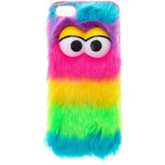 Furry Rainbow Monster Phone Case - iPhone 5/5S, Monsters, iPhone 5/5S... ($15) ❤ liked on Polyvore featuring accessories, tech accessories, phone cases, phones and cases
