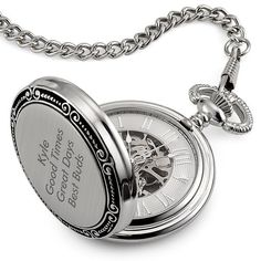 """Customize this Skeleton Memento Pocket Watch with a favorite photo (black and white to complement its vintage look) and a special message, and it will become his accessory of choice. Elegant and stylish, it features an open """"skeleton"""" face that displays the watch's interior, a brushed silver case and a silver curb chain. Comes in an engravable, black wooden presentation box. https://www.thingsremembered.com/skeleton-memento-pocket-watch/product/702722?fcref=pinterest"""