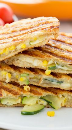 Corn in a sandwich? It's delicious! This Zucchini & Corn Panini with Pepper Jack Cheese is the perfect summertime lunch. Veggie Recipes, Lunch Recipes, Vegetarian Recipes, Healthy Recipes, Cookbook Recipes, Cooking Recipes, Farmers Market Recipes, Paninis, Best Chef
