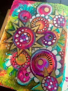 Funky flowers journal page. Thrilled...feel like my lost mojo is starting to return!! #Art #artjournal #artjournaling #artjournalpage #color #colour #dinawakleymedia #dylusionspaint #amsterdampaint #flowers #funkyflowers #funky #intuitivepainting #journal #layers #mixedmedia #mixedmediaart #painting #paints #pen #stabilo @rangerink @artfromtheheart_uk