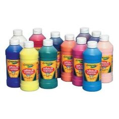Crayola Artista II Washable Tempera Paint Set (Set of 12) $41.58.  These are the kinds of paint every preschool has - for getting serious about art time! (Plus they're washable).