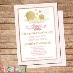 Pink and Gold Elephant Baby Shower Invitation  by PicsandPaper